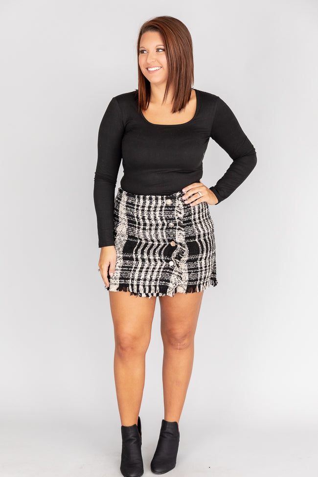 Relive The Magic Tweed Black Skirt