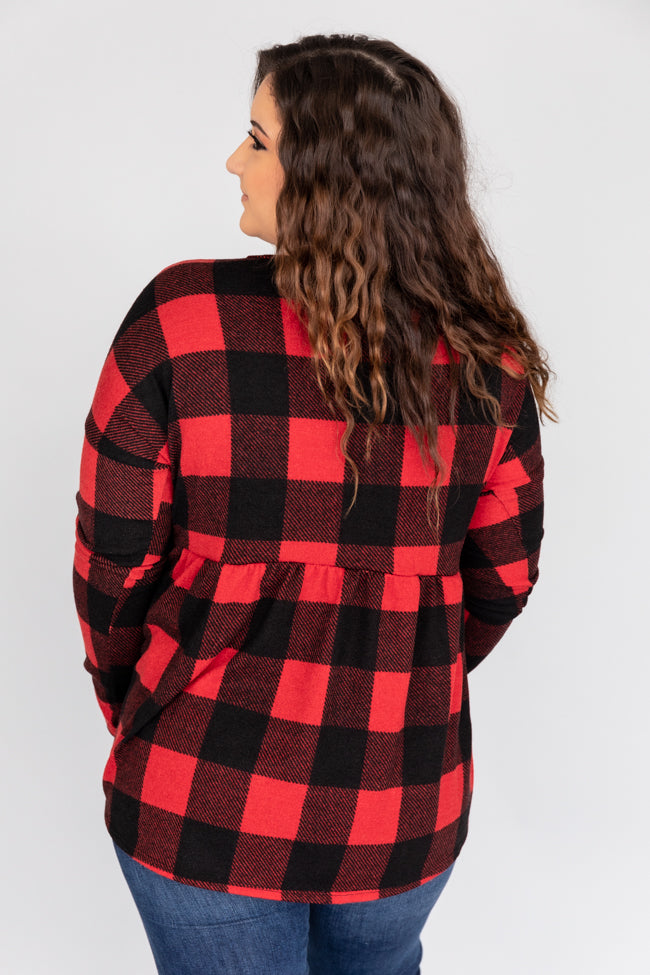 Explore The Outdoors Buffalo Plaid Red/Black Blouse