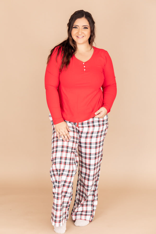 Sleepless At Sundown Red Pajama Blouse