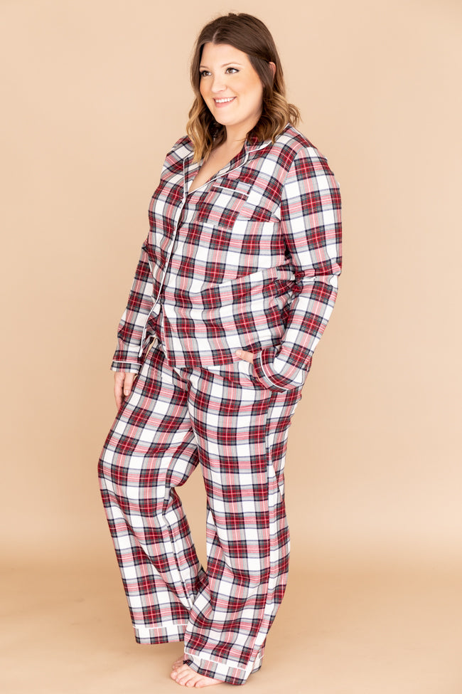 Silver Bells Plaid Ivory Pajama Blouse