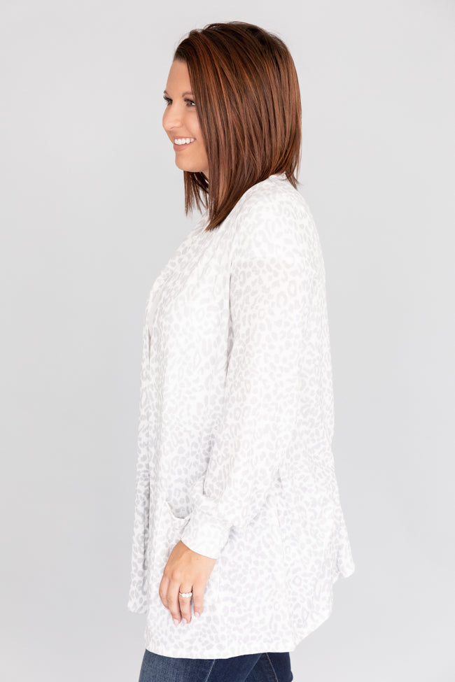 Leap Of Faith Animal Print Ivory Cardigan