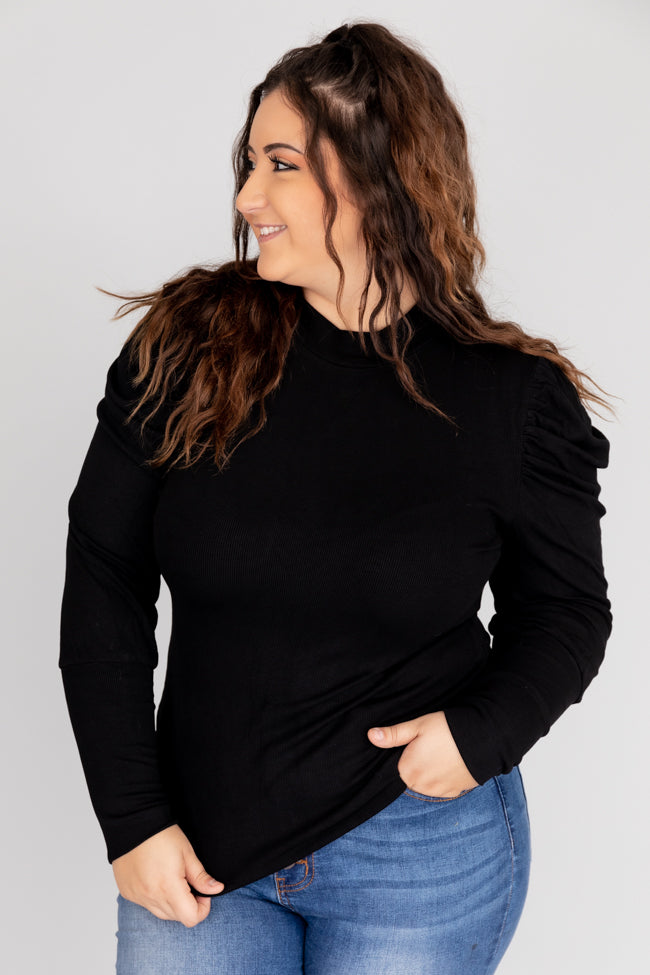 Elated To See You Mockneck Black Blouse