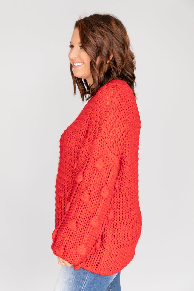 All Eyes On Me Pom Sleeve Red Sweater