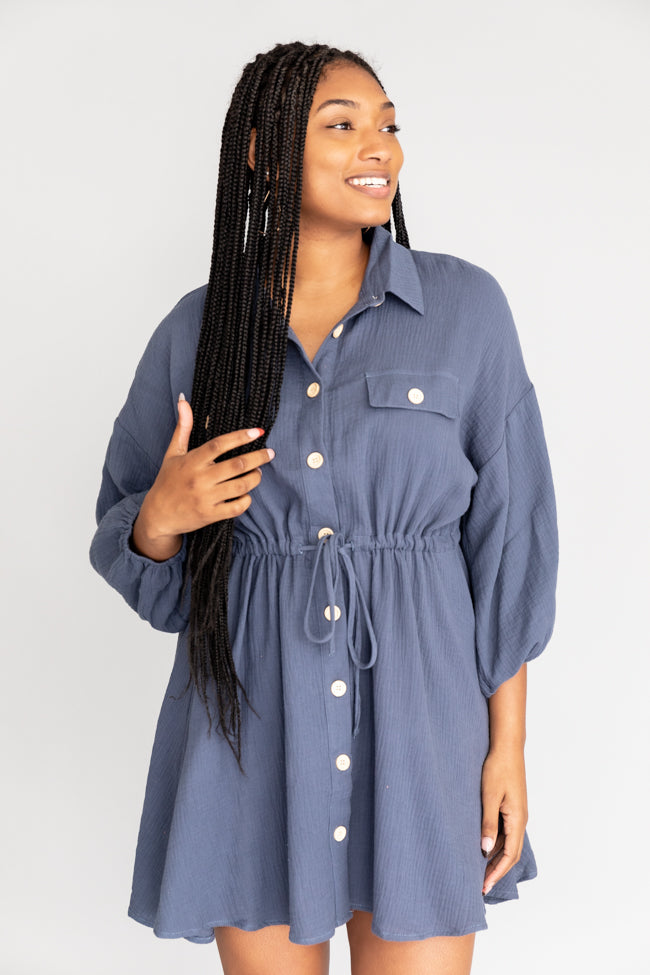 What I Like About You Blue Shirt Dress