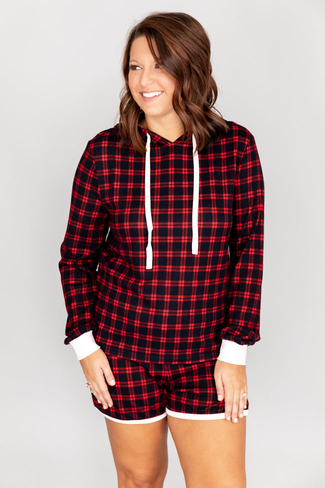 First Snowfall Plaid Red/Navy Pajama Shorts
