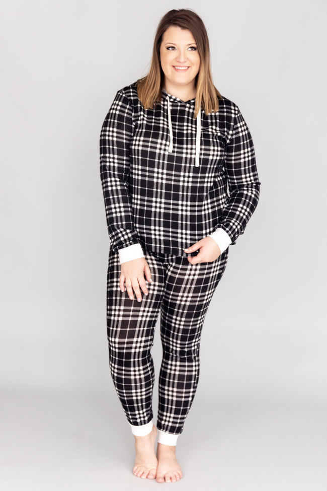First Snowfall Plaid Black Pajama Pants FINAL SALE