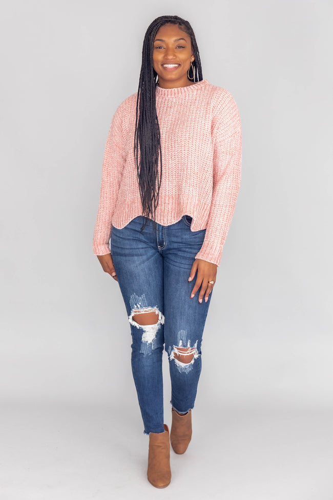 Anticipate A Surprise Scalloped Pink Sweater FINAL SALE
