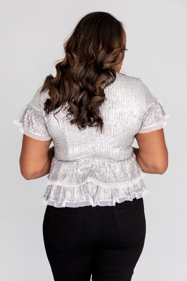 City Of Lights Sequin Peplum Silver Blouse