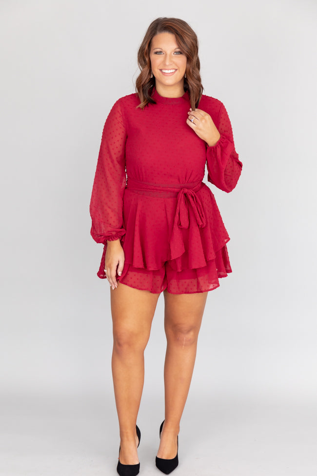 Share The Spotlight Swiss Dot Burgundy Romper