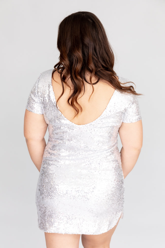 Midnight Toast Sequin Silver Dress