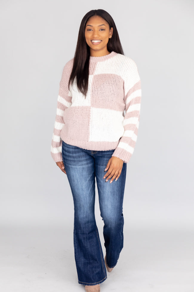 Found The Best Colorblock Mauve Sweater