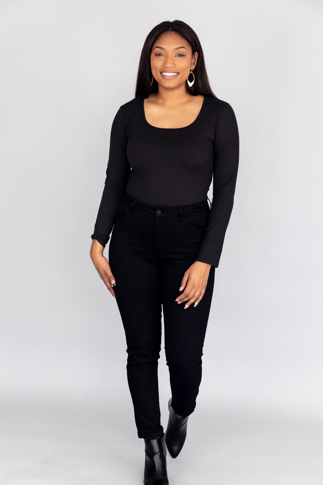 All I Know Square Neck Black Bodysuit