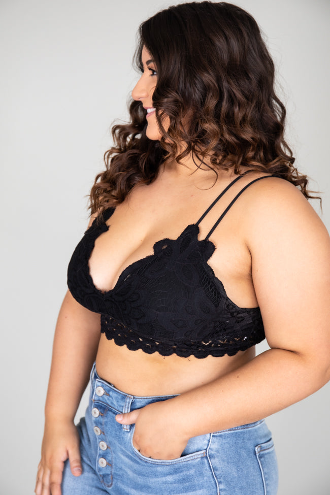So This Is Love Black Lace Bralette