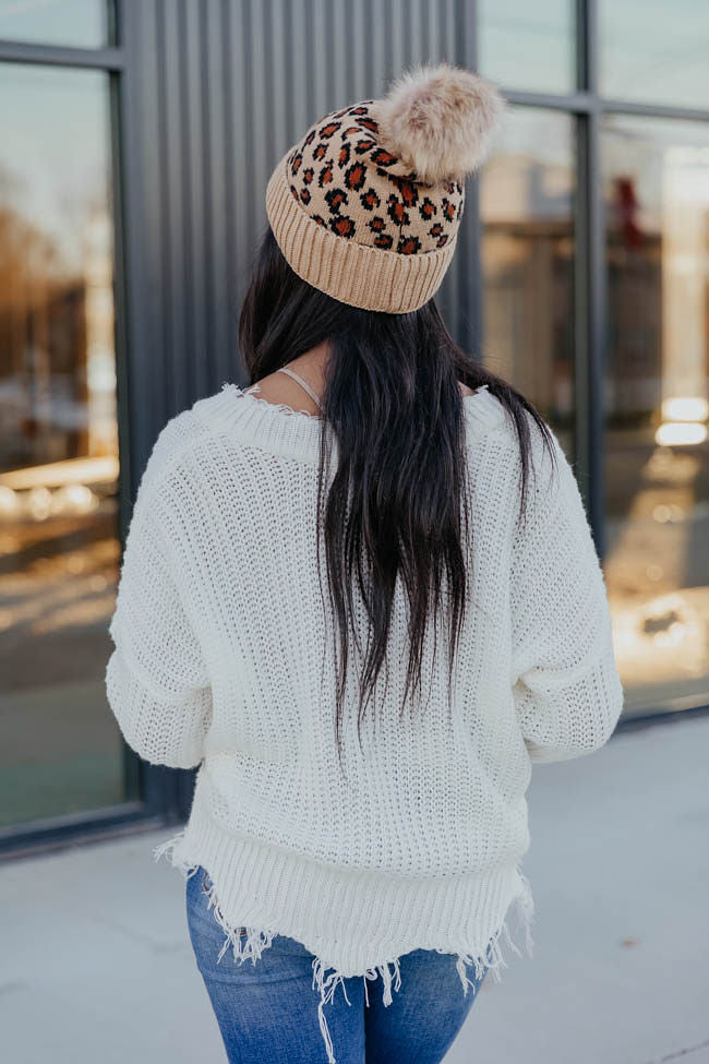 Commitment To Cool White Distressed Sweater