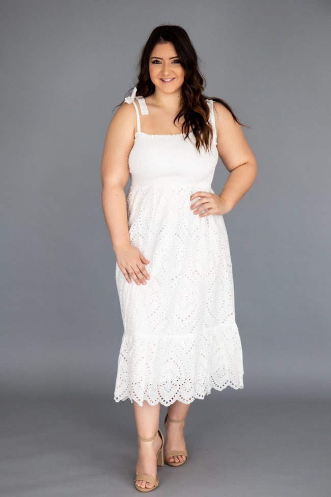 Promise In My Heart White Lace Midi Dress
