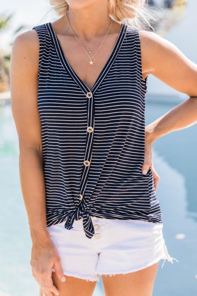 Give Love A Chance Navy Striped Tank