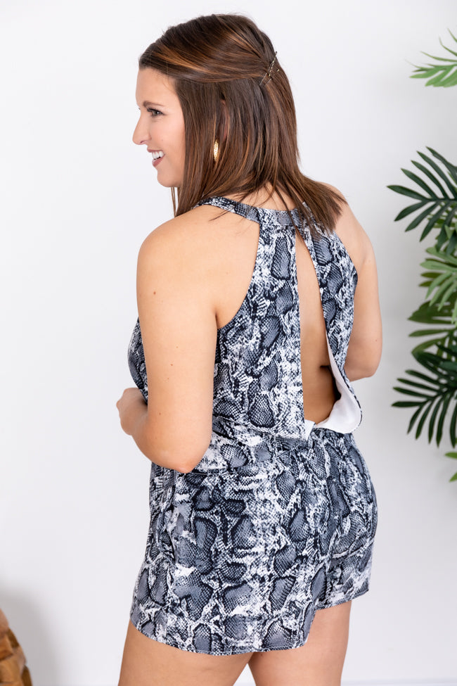 Won't Break Your Heart Grey Snakeskin Print Romper