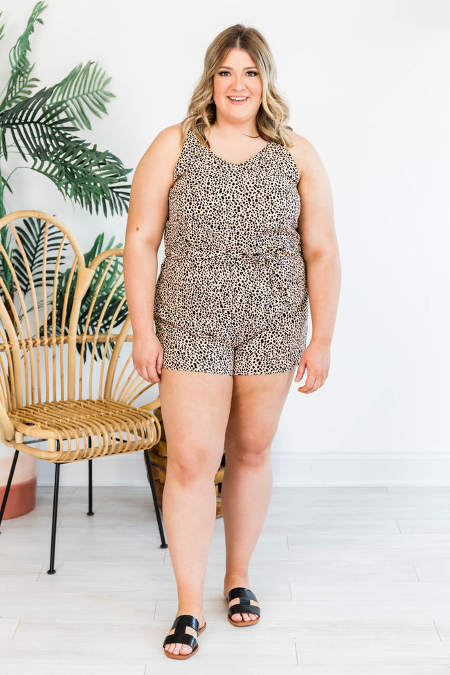 Always Around For You Beige Animal Print Romper