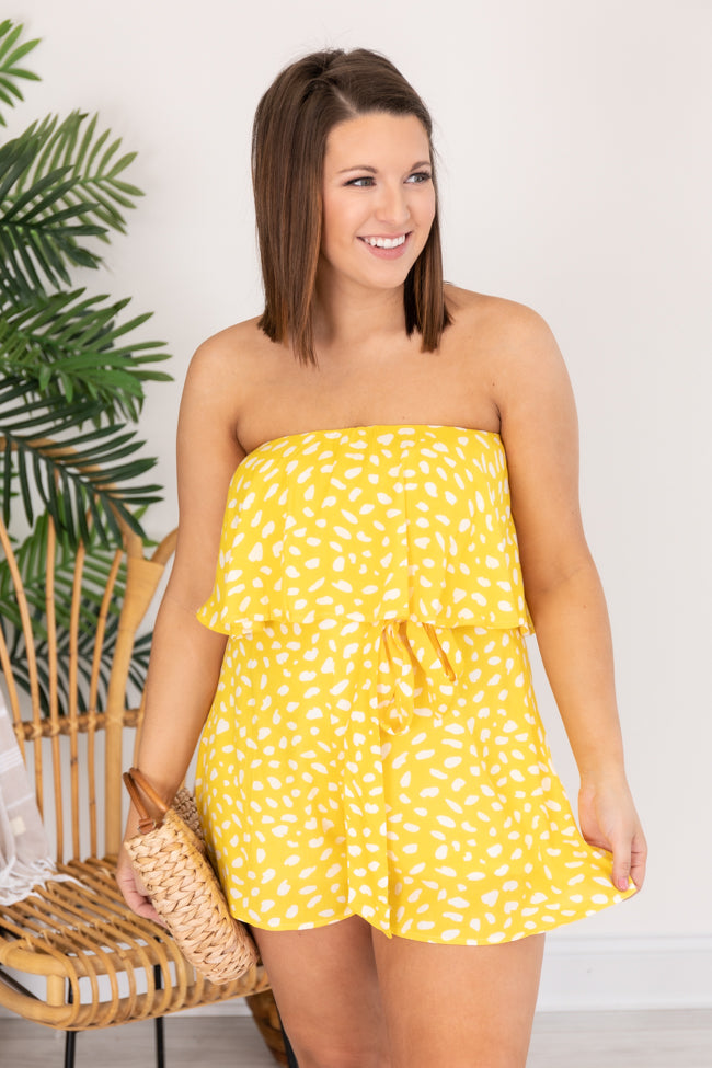Happy Times Yellow Printed Romper
