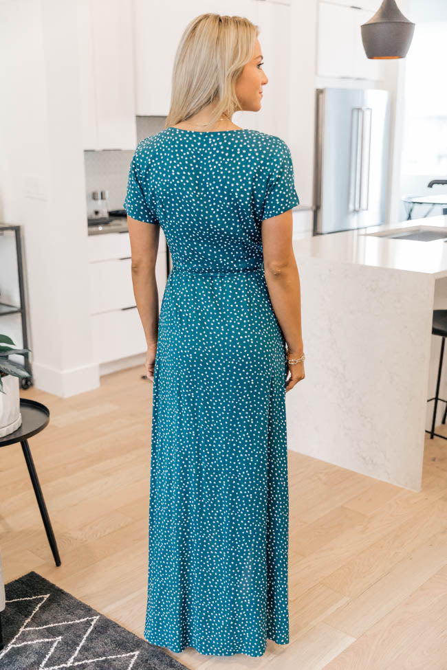 A Magnificent Night Teal Polka Dot Maxi Dress