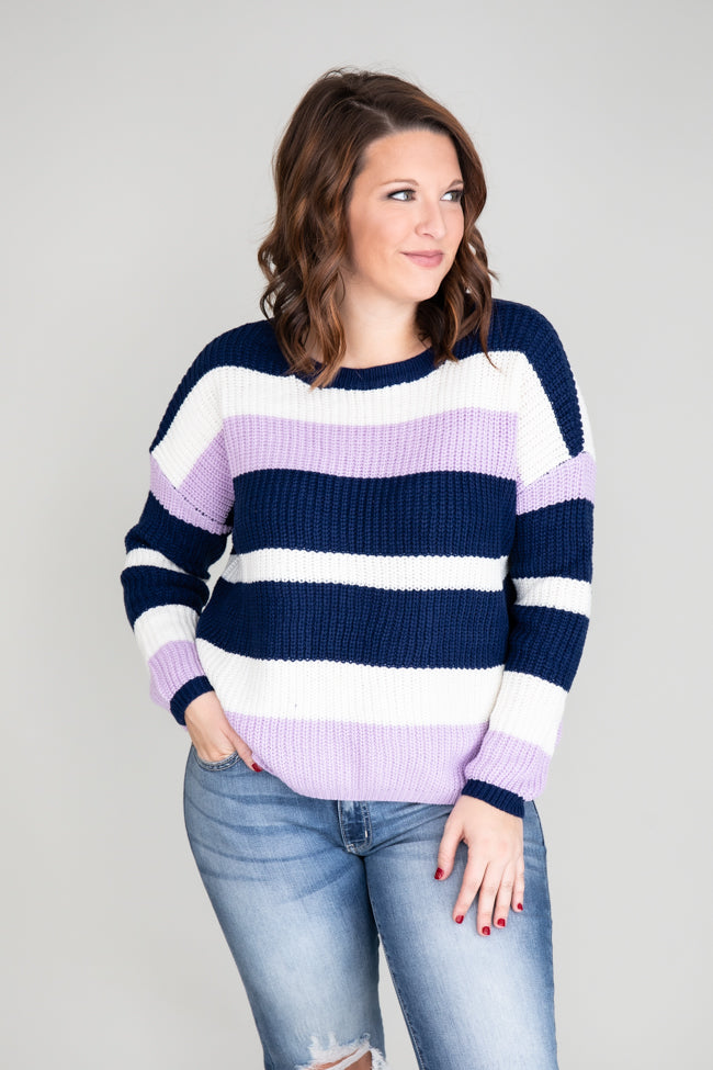 Run With My Heart Navy Striped Sweater