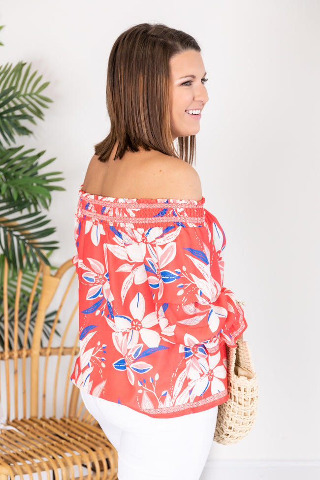 Summer Love Story Floral Blouse Coral