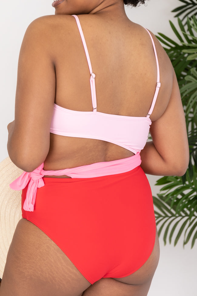 Chasing Chic Pink Colorblock Swimsuit