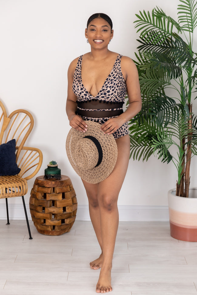 Wild About This Love Leopard Print One Piece Swimsuit
