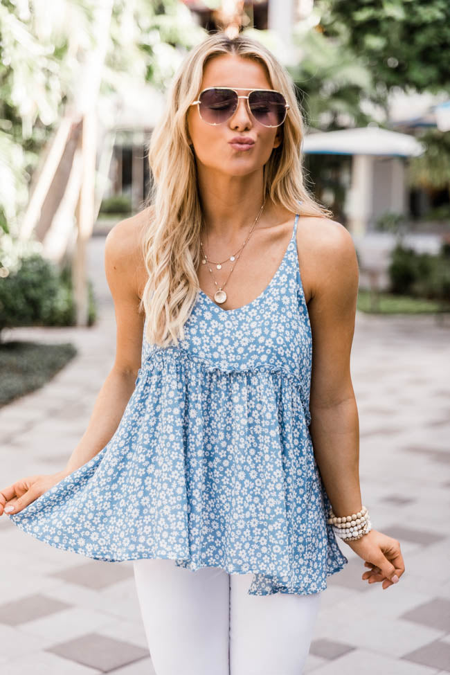 For The Rest Of Time Ditsy Floral Babydoll Tank Blue