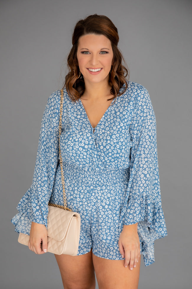 I Keep Hoping Ditsy Floral Romper Blue