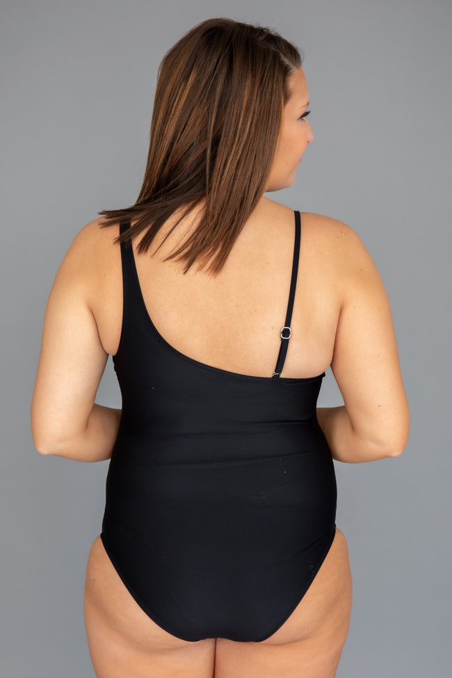 Meet Me At Waikiki Black One Shoulder Swimsuit