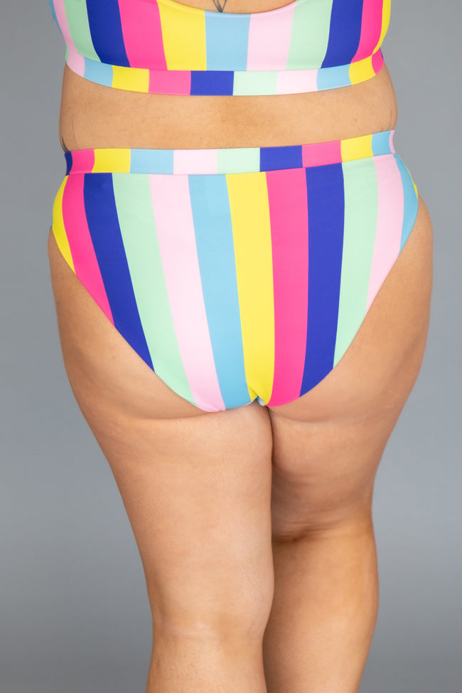 Rainbow Dreams Rainbow Stripe High Waisted Bikini Bottoms