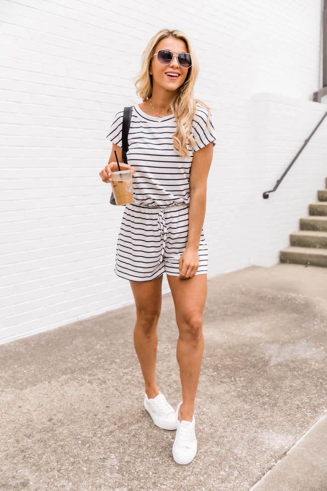 You Can Count On Me White Striped Romper