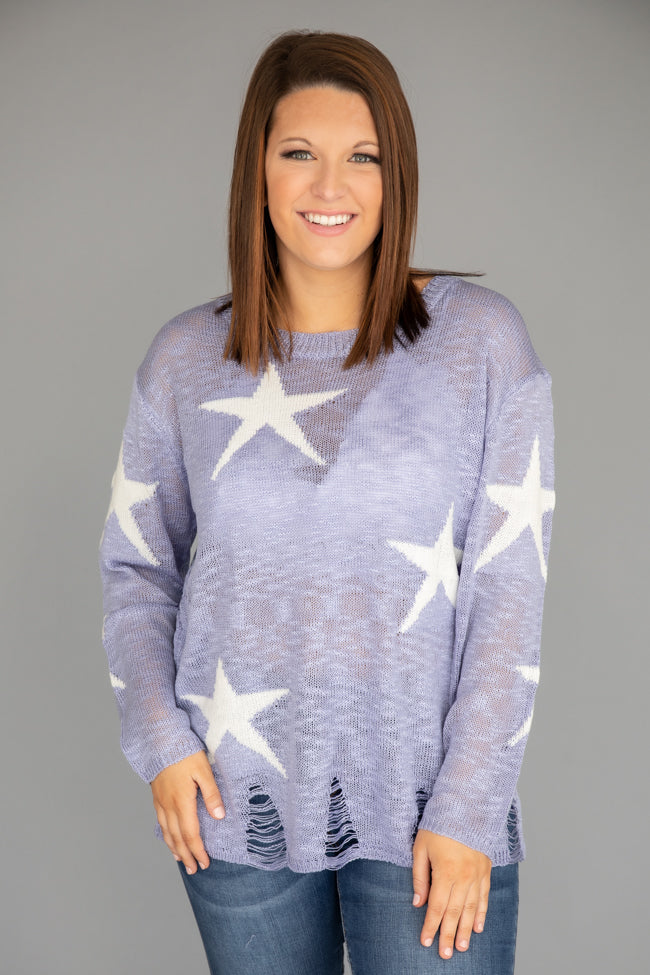 You've Got The Time Lilac Star Printed Pullover