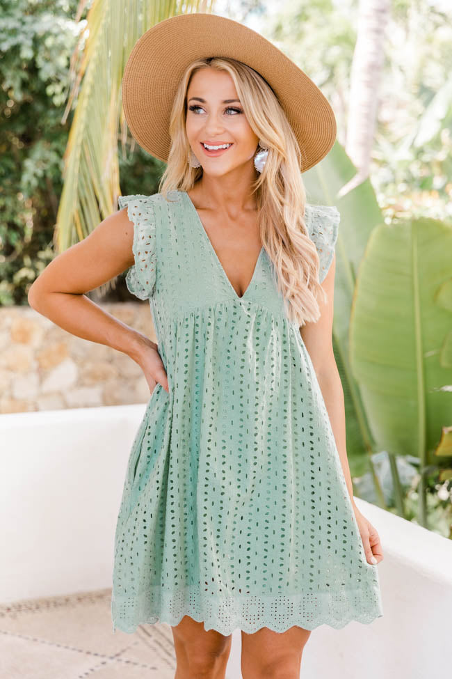 You Found My Heart Sage Lace Romper