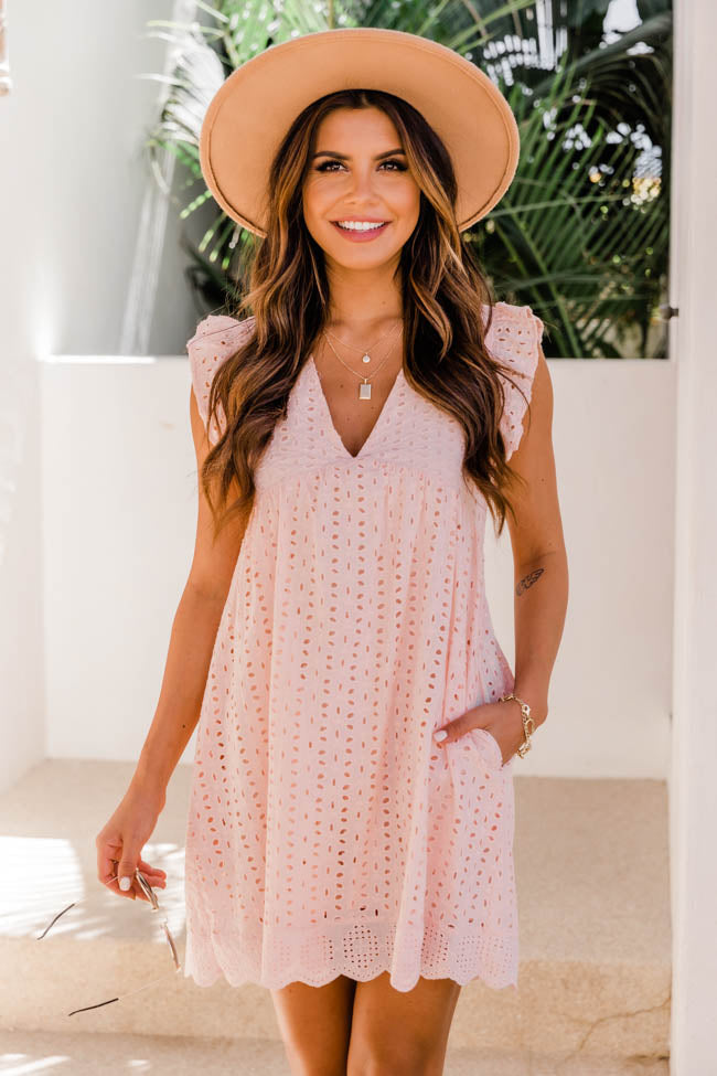 You Found My Heart Blush Lace Romper Pink Lily