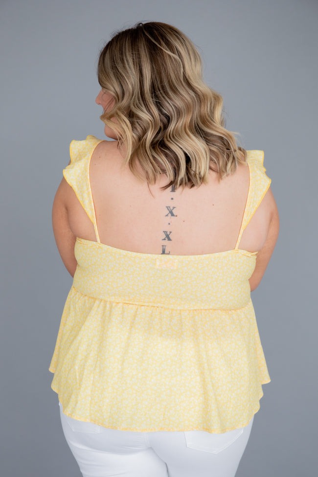 Pockets Full Of Sunshine Smocked Bust Yellow Blouse