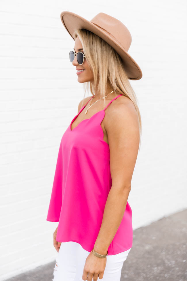 Confess My Love Scalloped Cami Pink