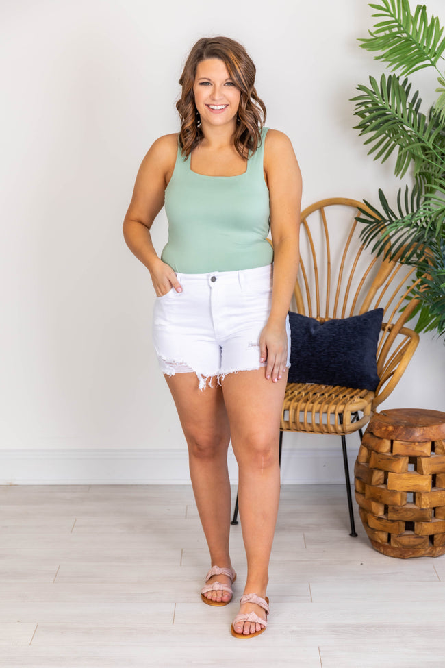 Go Anywhere Distressed White Denim Shorts