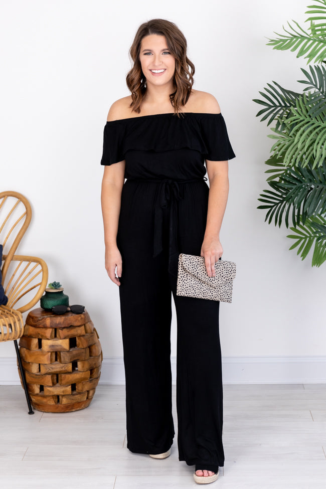 Moment Of Truth Off The Shoulder Jumpsuit Black