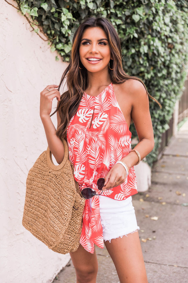 Follow The Breeze Red Printed Tank