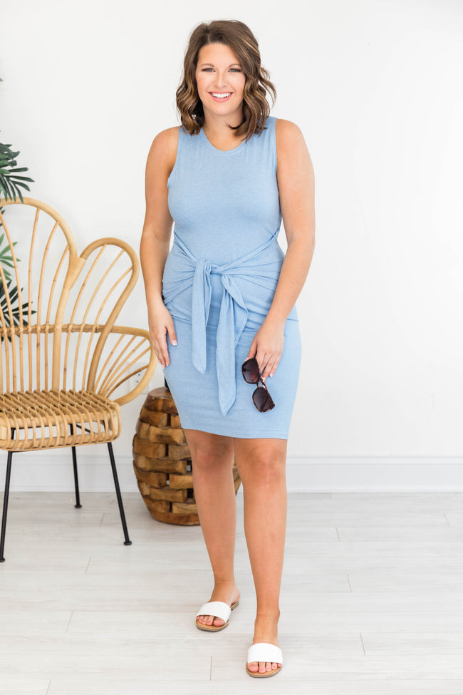 Living For It Bodycon Tank Dress Blue