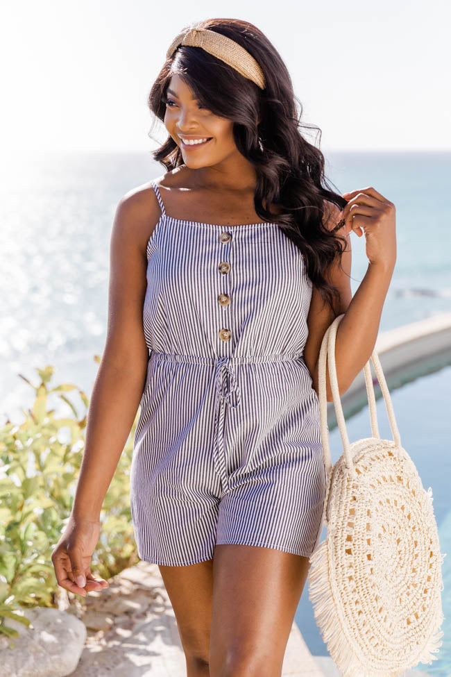 Happy Days Black/White Striped Romper