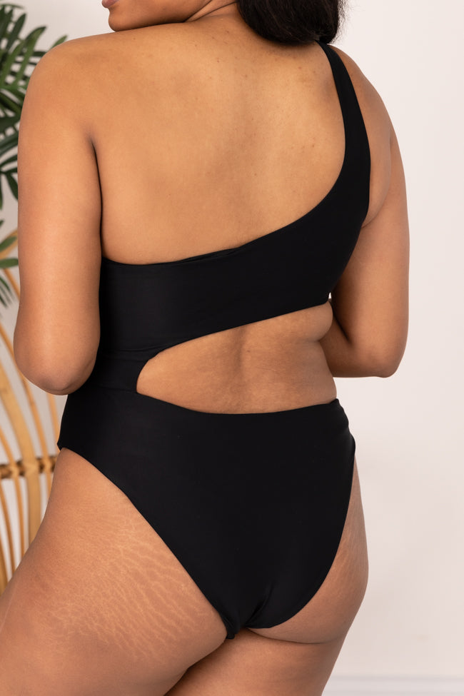 A Walk At Sunset Black One Piece One Shoulder Swimsuit