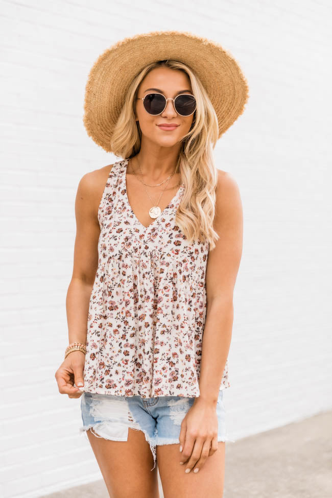 Sunset Dreaming Ivory Floral Tank