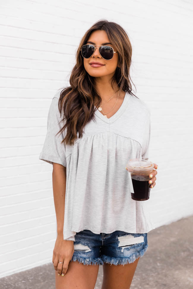 Follow The Beat Peplum Light Grey Tee