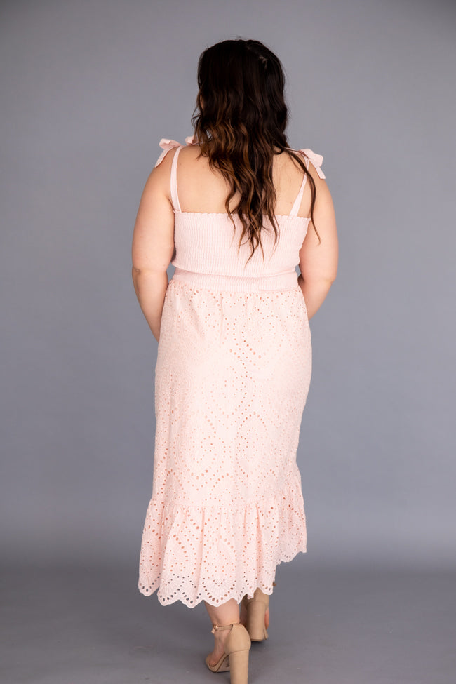 Promise In My Heart Blush Lace Midi Dress