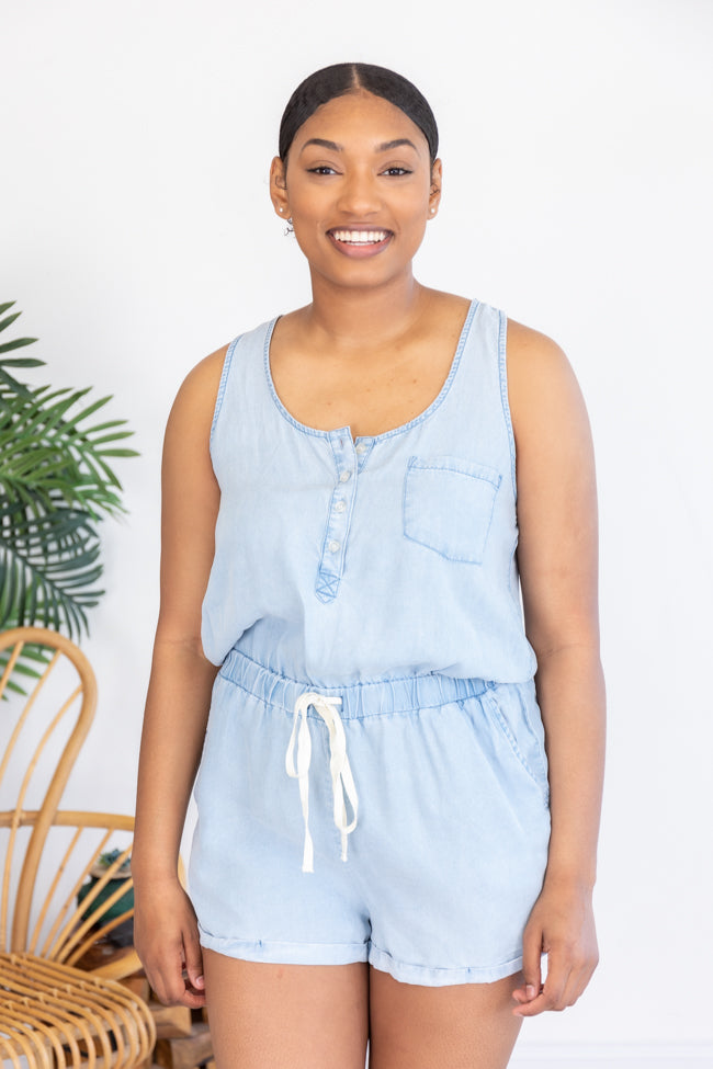 Walking Away Romper Blue