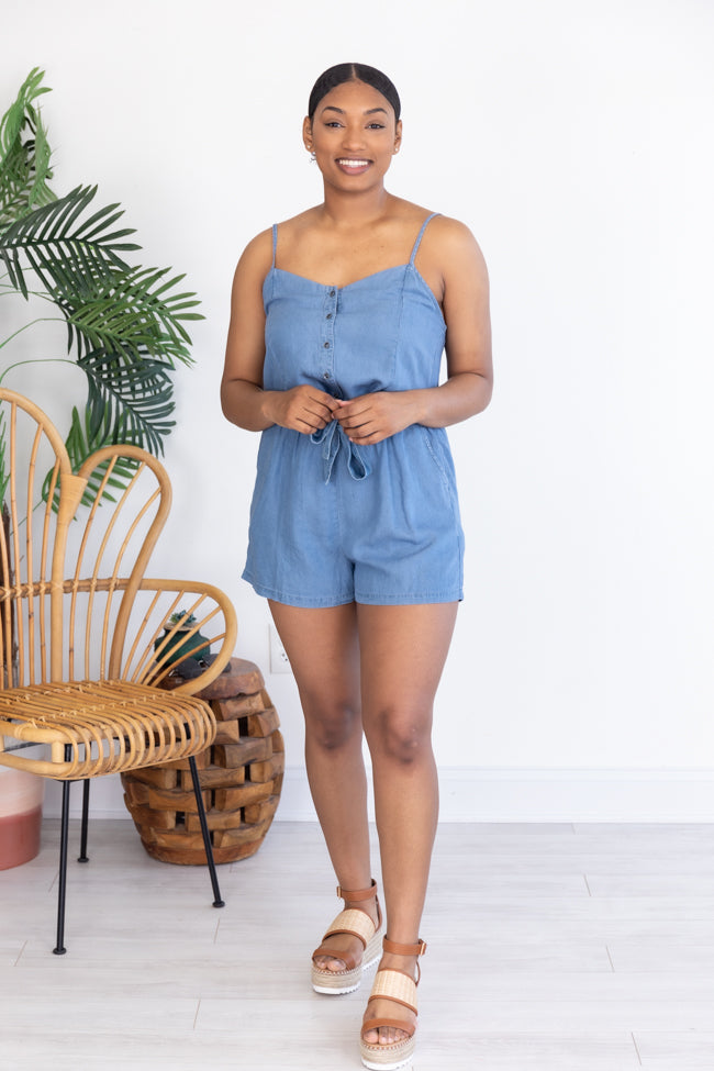 Made My Mind Up Chambray Romper