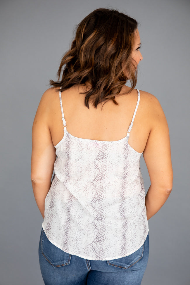 Set to Succeed Snakeskin Cami Grey FINAL SALE